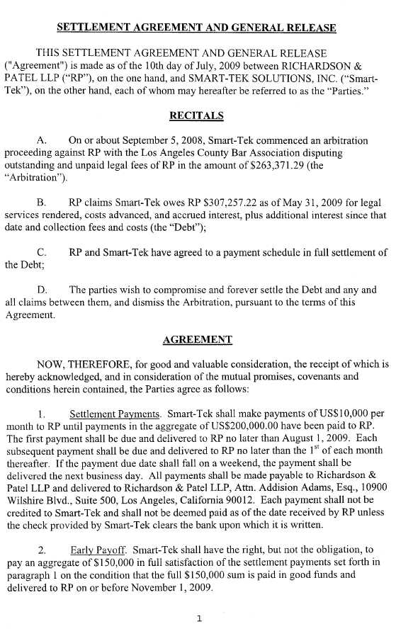 Trucept Inc  Form K  Ex  Settlement Agreement And