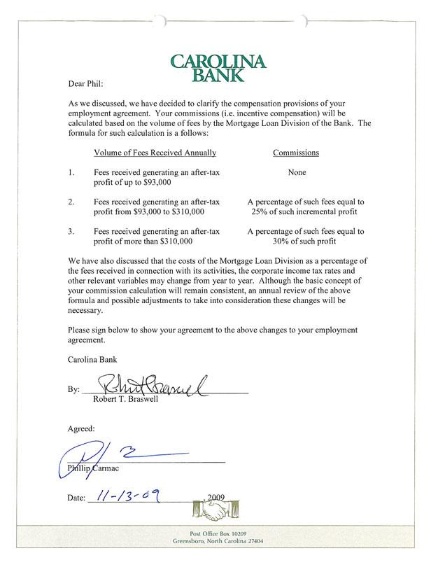 Carolina Bank Holdings Inc  Form K  Ex  Employment