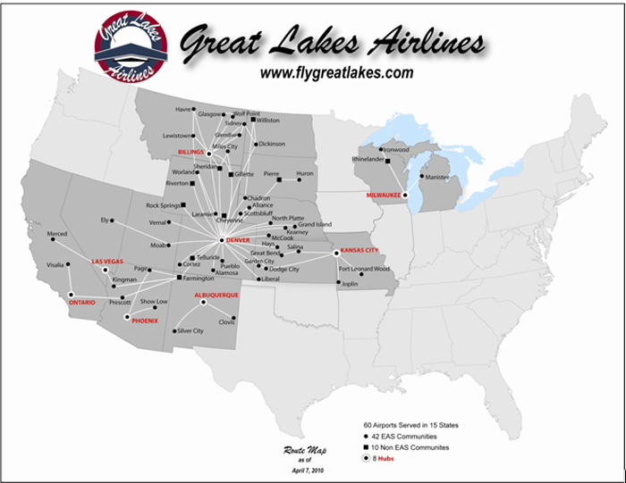 great lakes aviation route map Great Lakes Aviation Ltd Form 10 K March 26 2010 great lakes aviation route map