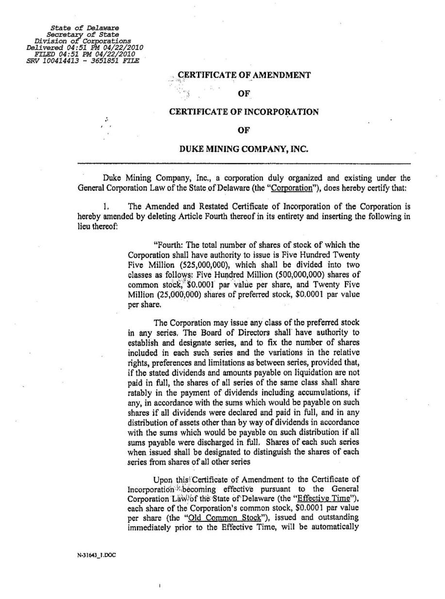 Duke Mining Company Inc Form 8 K Ex 37 Delaware Certificate