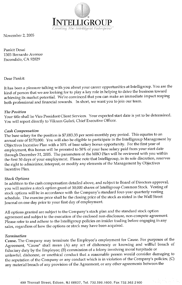 Intelligroup Inc Form 10 Ka Ex 101 Letter Agreement Dated