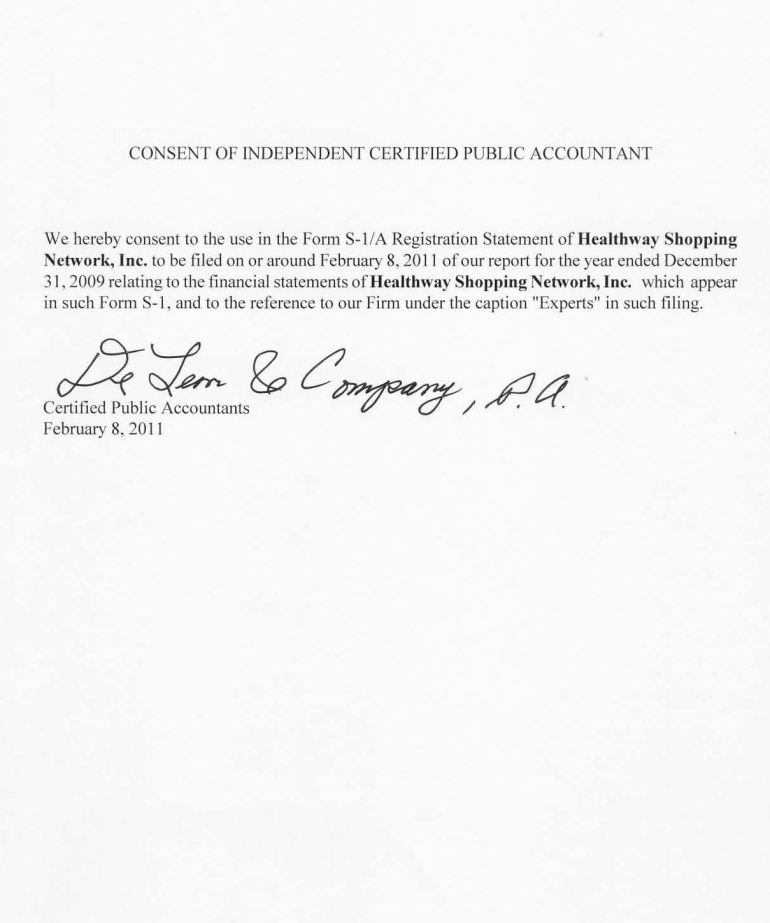 Healthway Shopping Network - FORM S-1/A - February 8, 2011