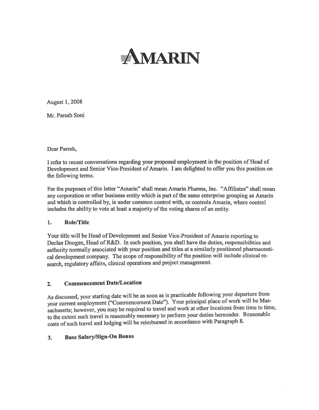 amarin corp plcuk form 10 k ex 10 20 letter agreement dated