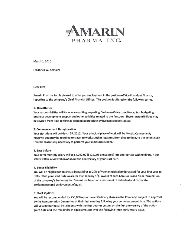 amarin corp plcuk form 10 k ex 10 46 letter agreement dated