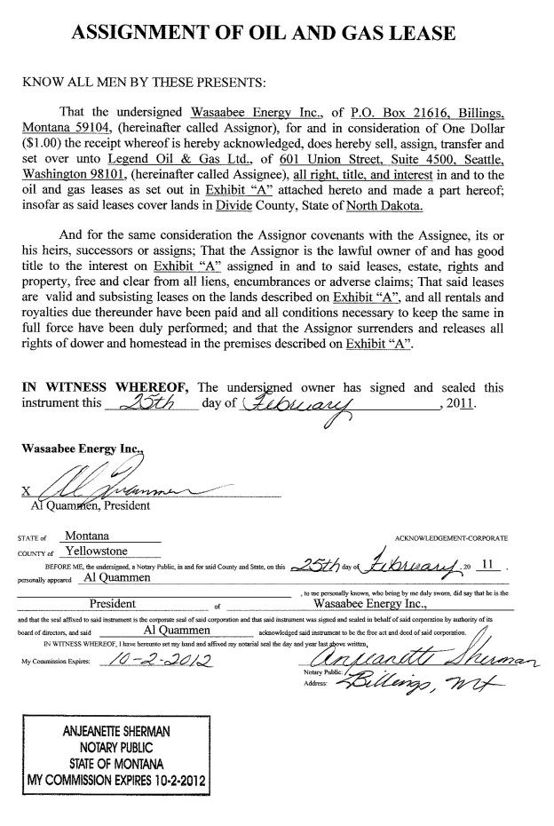 Legend Oil  Gas Ltd  Form K  Ex  Assignment Of Oil