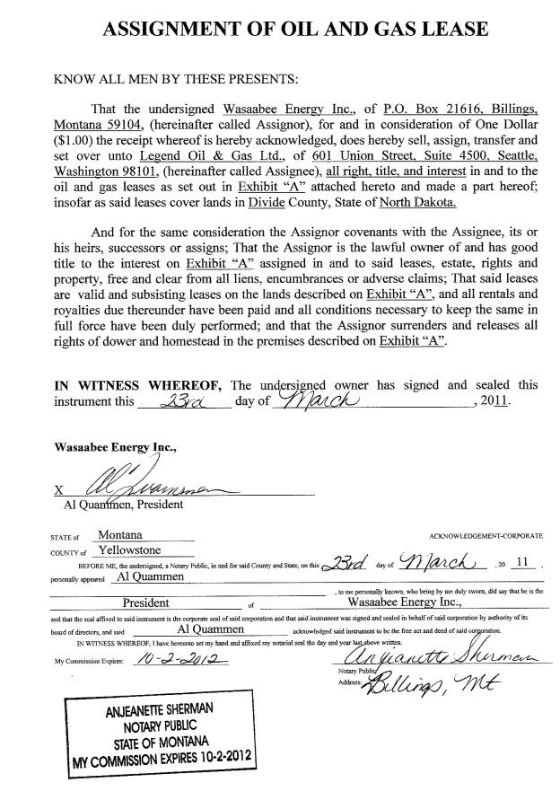 ASSIGNMENT OF OIL AND GAS LEASE BY WASAABEE ENERGY INC. DATED MARCH 23,  2011 (BAKKEN PROJECT)