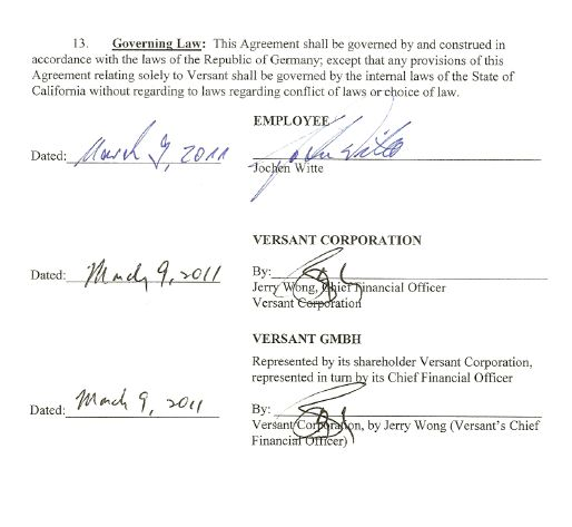 VERSANT CORP   FORM 10 Q   EX 10.01   JOINT TRANSITION AND SEPARATION  AGREEMENT BETWEEN VERSANT CORPORATION AND JOCHEN WITTE   June 14, 2011