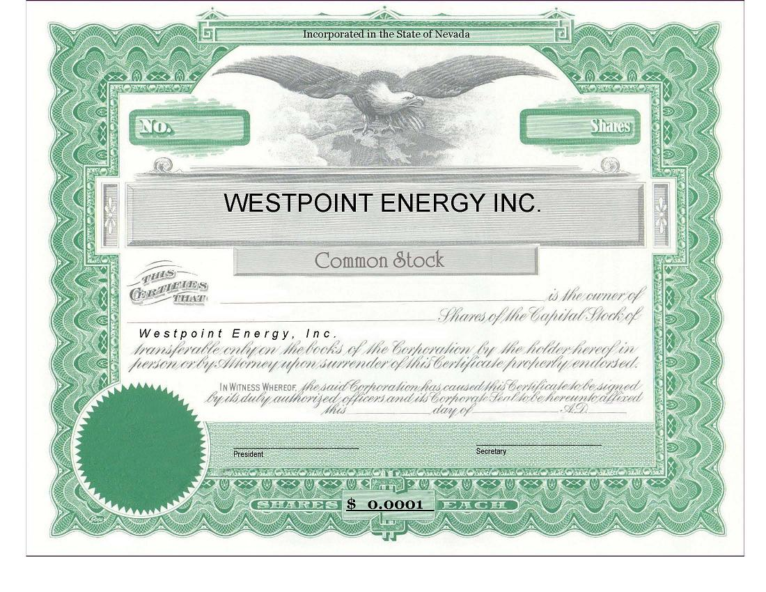 Westpoint Energy, Inc. - FORM S-1 - EX-4.1 - FORM OF STOCK ...