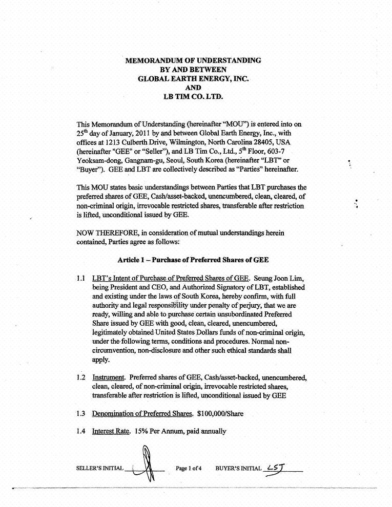 GLOBAL EARTH ENERGY, INC. - FORM 8-K - EX-10.01 - MATERIAL ...