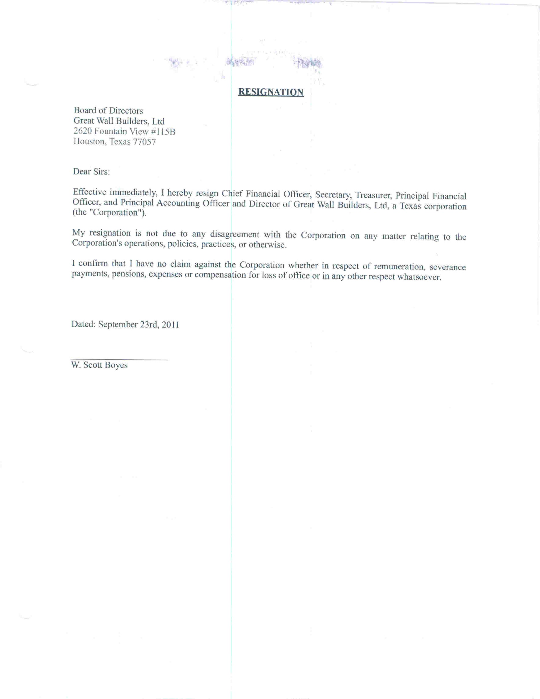 FORM 8-K - EX-99 - RESIGNATION