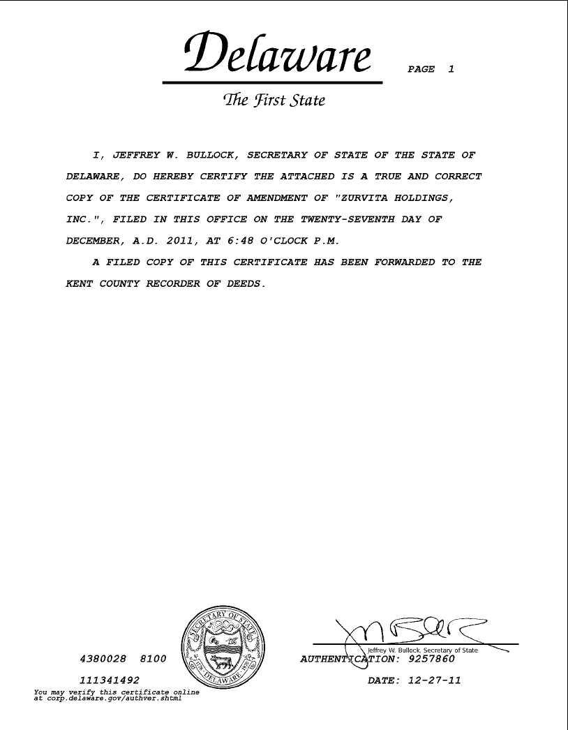 Zurvita Holdings Inc Form 8 K Ex 3 1 Certificate