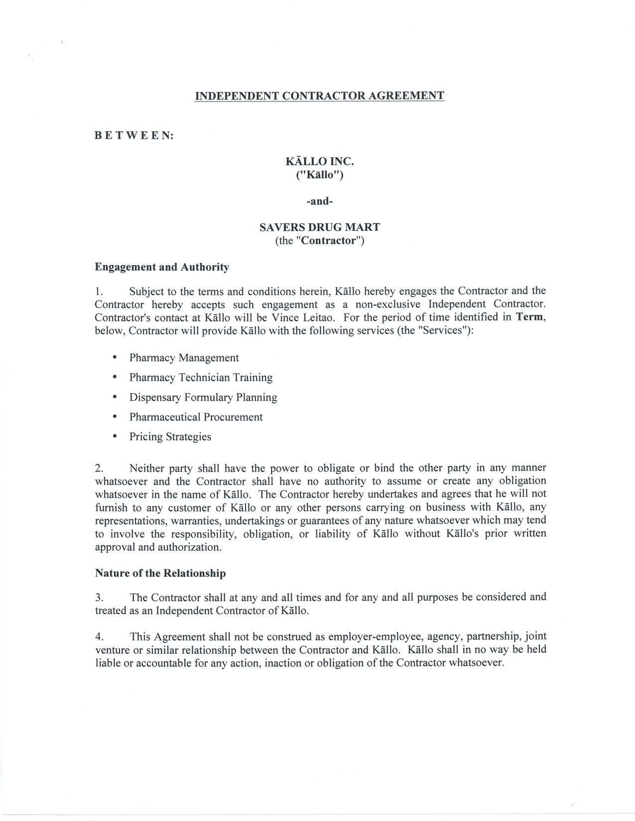 Kallo Inc. - FORM 8-K - EX-10.1 - INDEPENDENT CONTRACTOR AGREEMENT ...