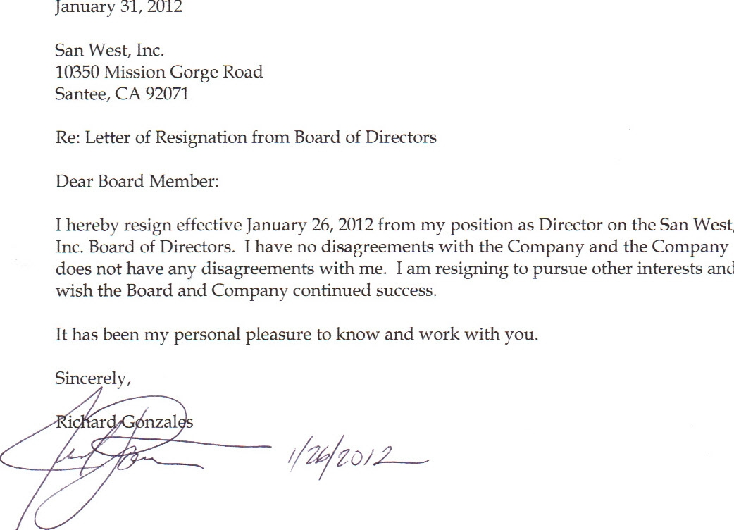 San west inc form 8 k ex 99 resignation letter february san west inc form 8 k ex 99 resignation letter february 27 2012 expocarfo