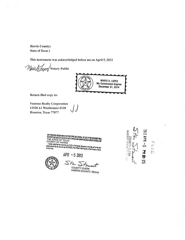 Vanjia Corp - Form S-1/A - Ex-99 - Amended General Warranty Deed
