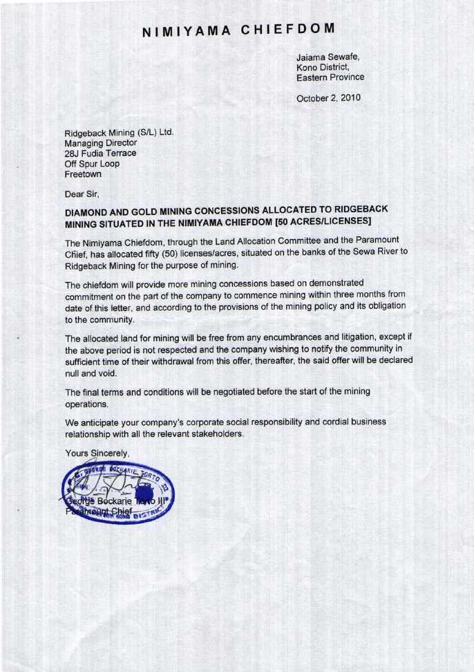 Gold Gemstone Mining Inc Form 8 K Ex 103 Letter Agreement