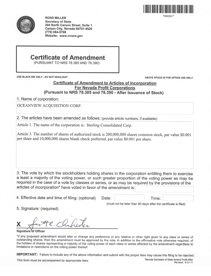 Sterling Consolidated Corp Form S 1 Ex 31 Exhibit 31