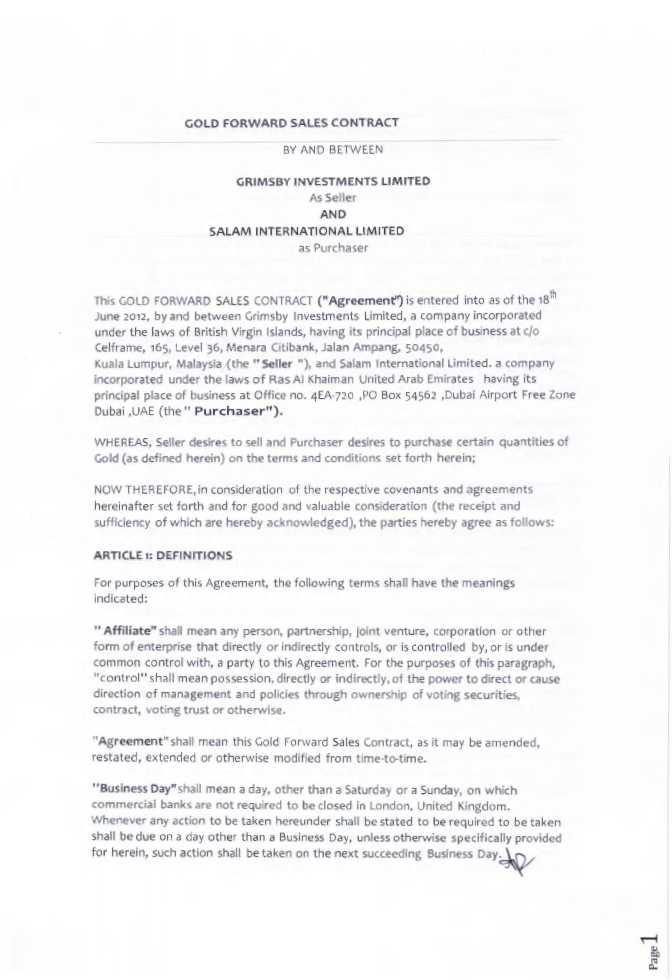 Arx Gold Corp Form 10 Q Ex 101 Gold Forward Sales Contract