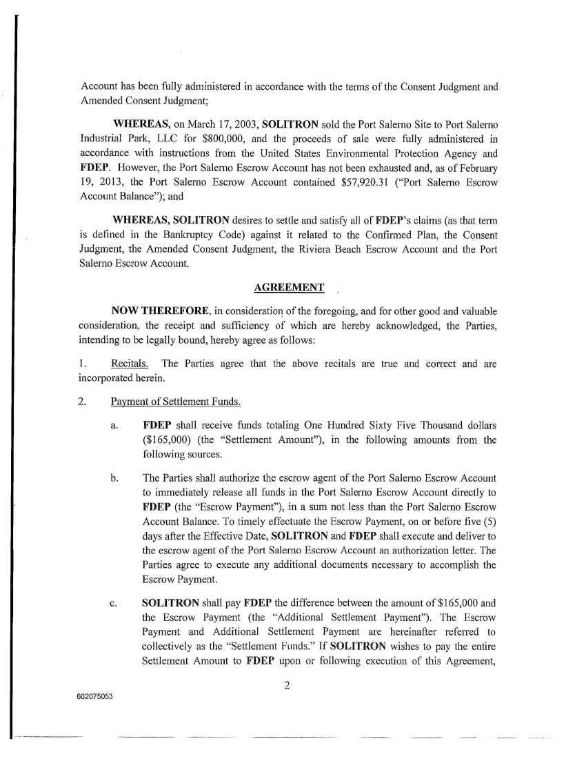 Solitron Devices Inc Form 8 K Ex 101 Settlement Agreement