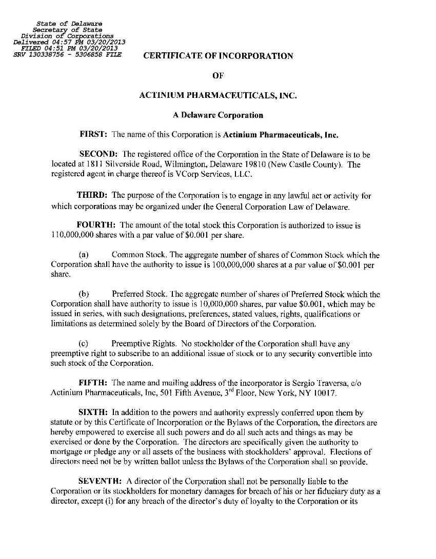 Actinium Pharmaceuticals Inc Form 8 K Ex 31 Delaware