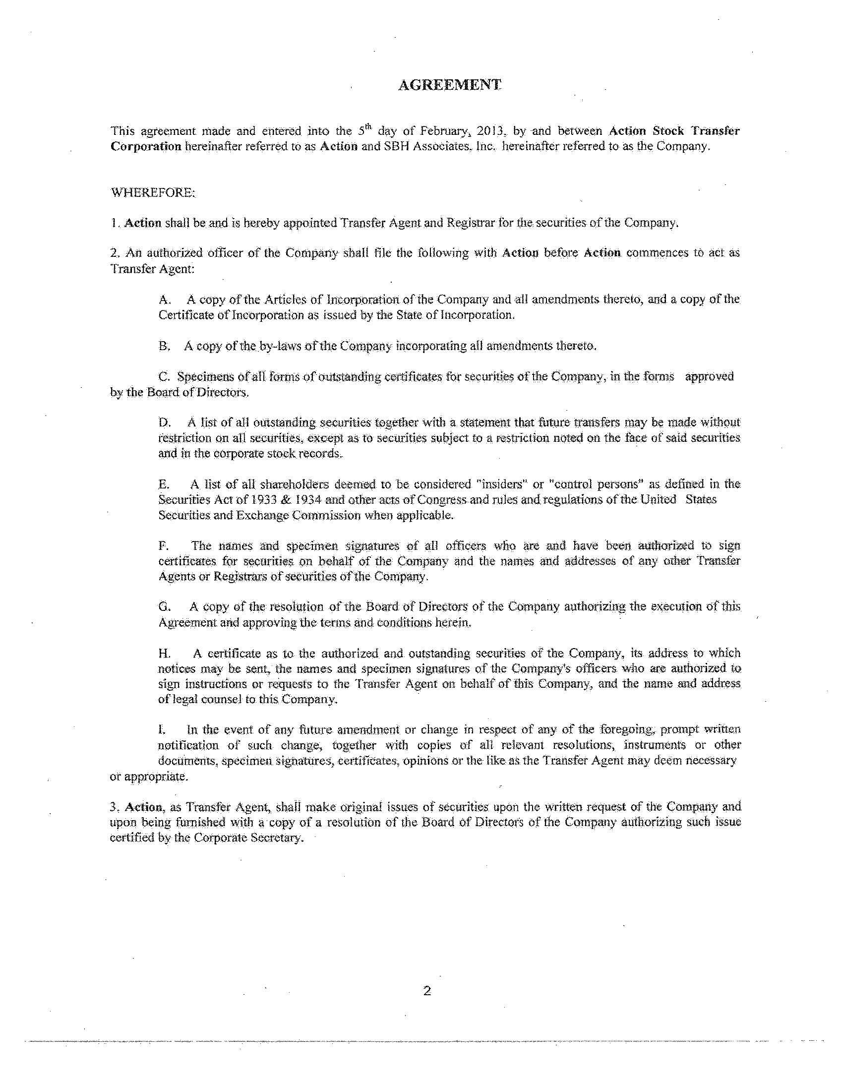 Sbh Associates Inc Form S 1a Ex 992 Exhibit 992 Agreement