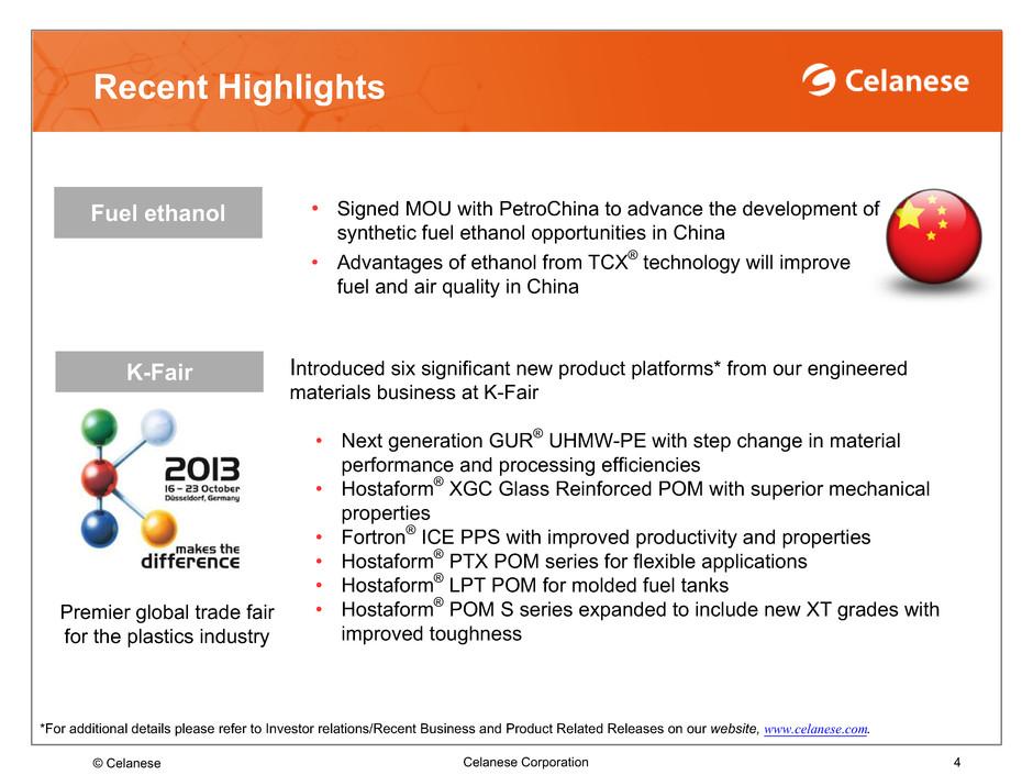 Celanese Corp - FORM 8-K - EX-99 2 - EX 99 2 - SLIDES - October 18, 2013