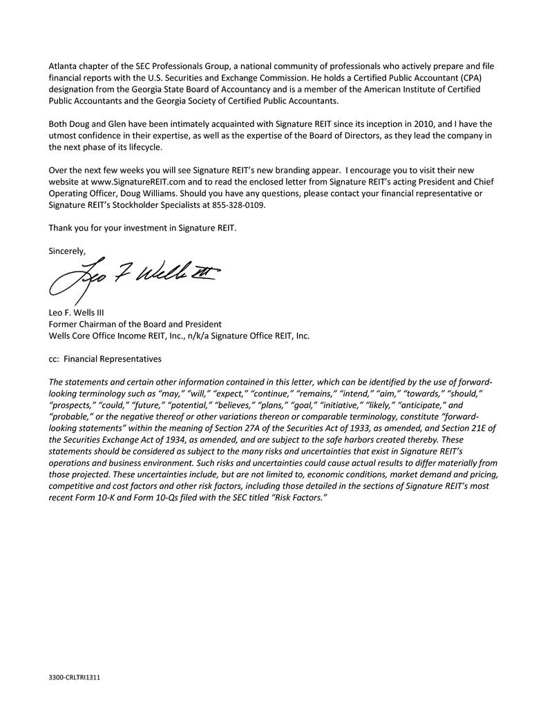 Signature Office Reit Inc Form 8 K Ex 99 2 Exhibit 99 2