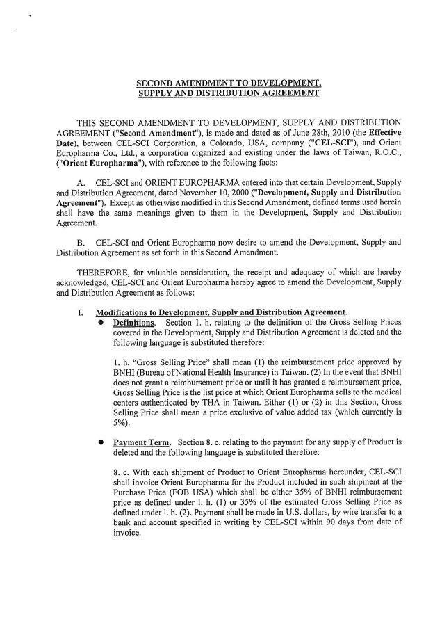 Cel Sci Corp Form 10 Ka Ex 10aaa Amendment To Development