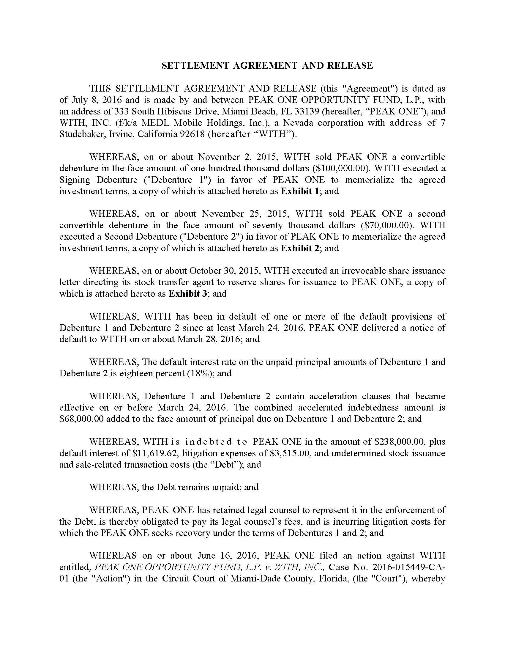 With Inc Form 8 K Ex 991 Exhibit 991 Settlement Agreement