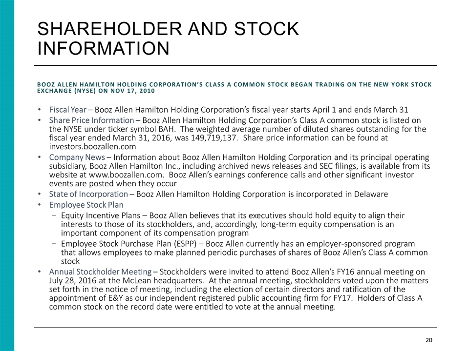 Booz Allen Hamilton Holding Corp Form 8 K Ex 991 February 7 2017