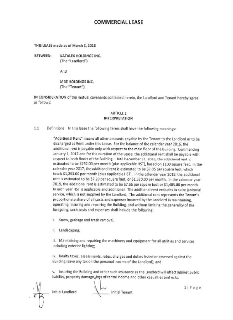 pro forma rental agreement