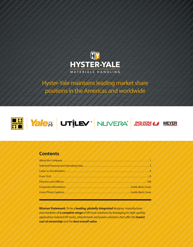 HYSTER-YALE MATERIALS HANDLING, INC  - FORM 8-K - EX-99