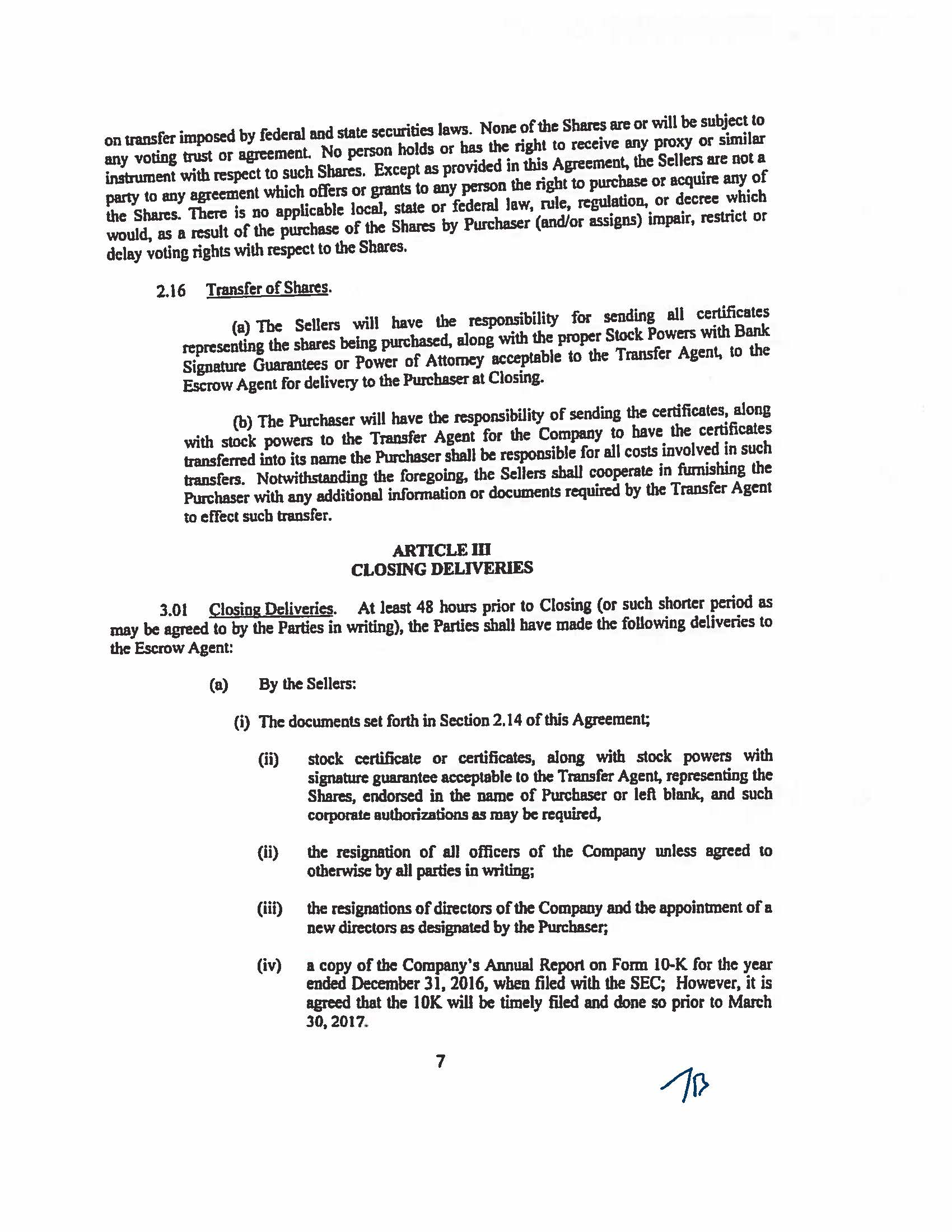 OMEGA COMMERCIAL FINANCE CORP - FORM 8-K - EX-10 - EXHIBIT 10.1 ...