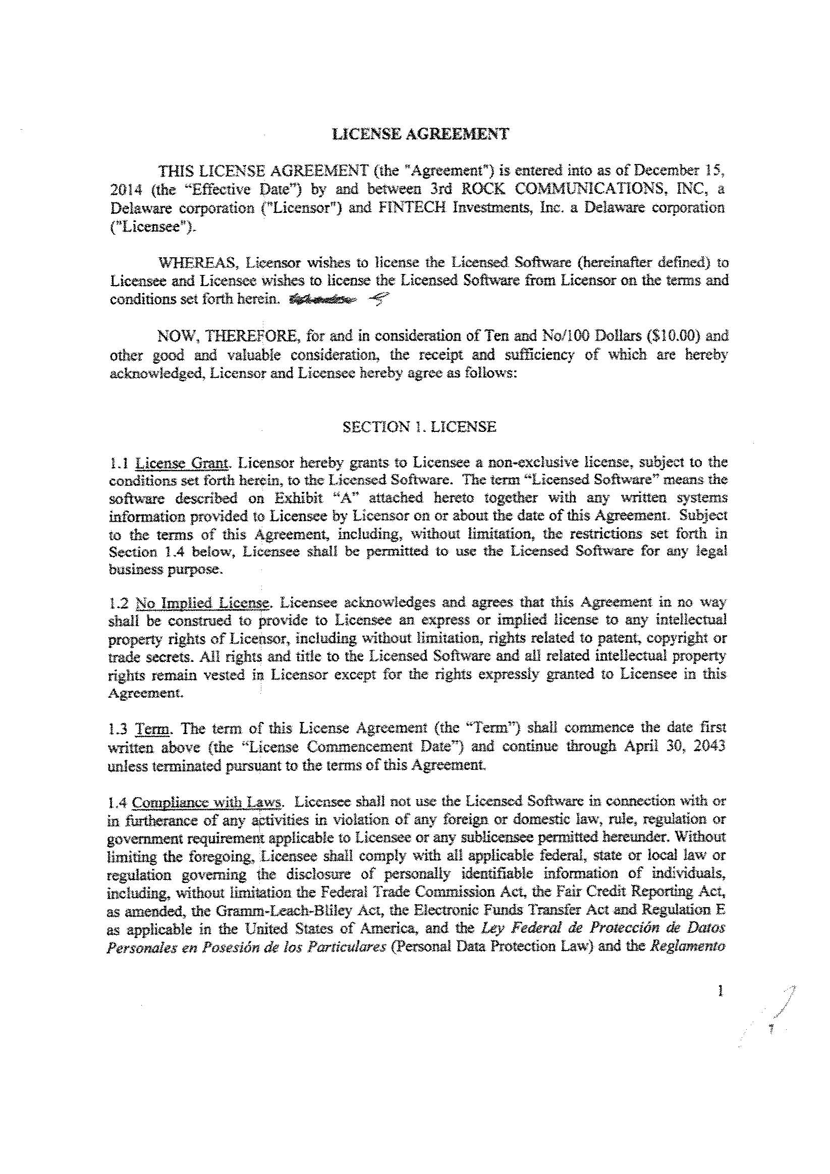 Genesis Financial Inc Form 8 K Ex 10 License Agreement