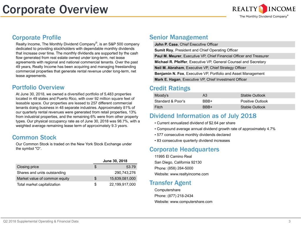 Realty Income Corp Form 8 K Ex 992 Exhibit 992 August 1 2018